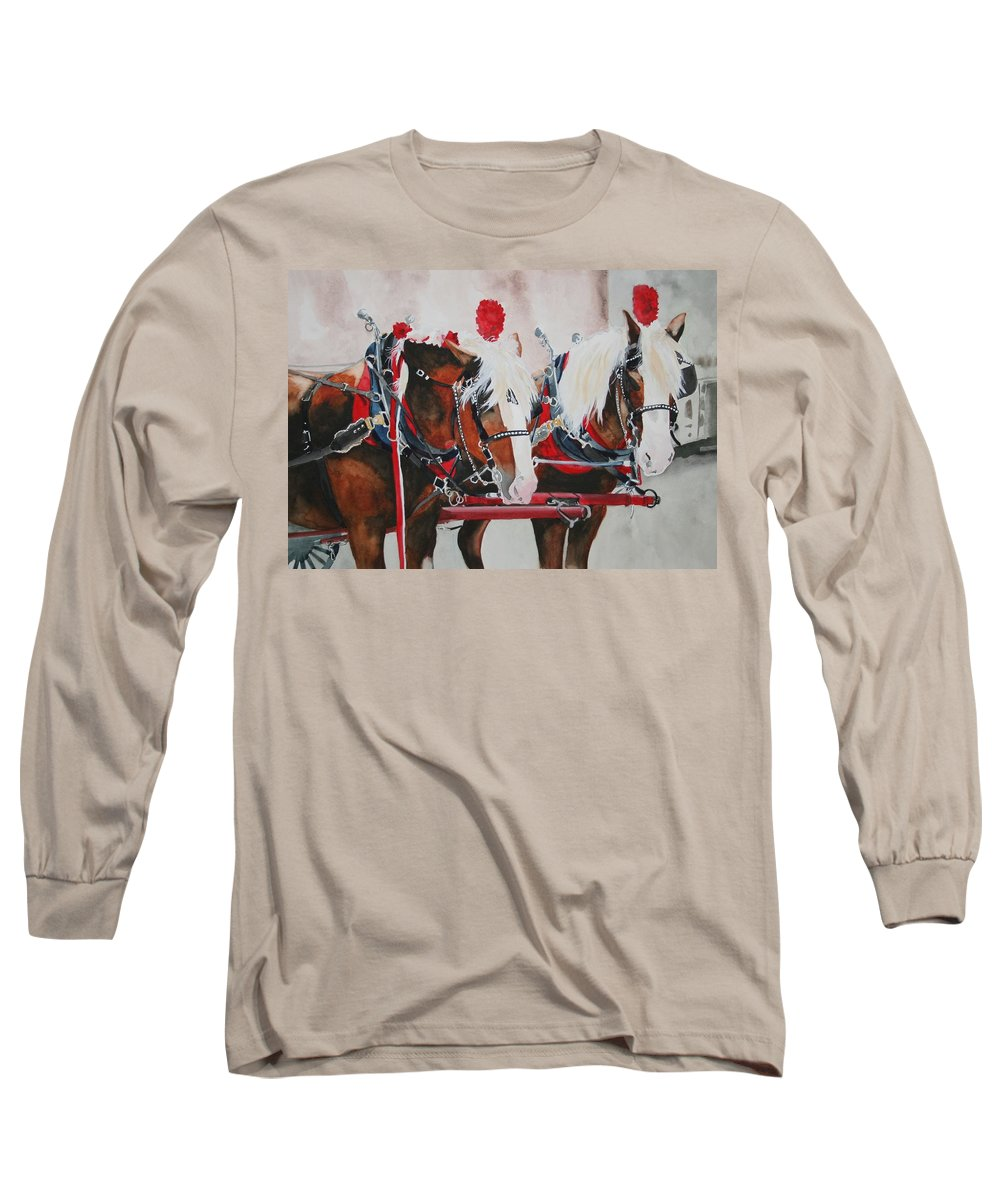 Horse Long Sleeve T-Shirt featuring the painting Dandy Duo by Jean Blackmer