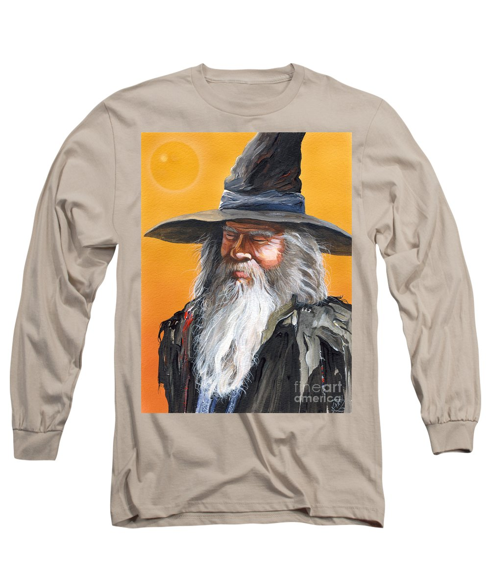 Fantasy Art Long Sleeve T-Shirt featuring the painting Daydream Wizard by J W Baker