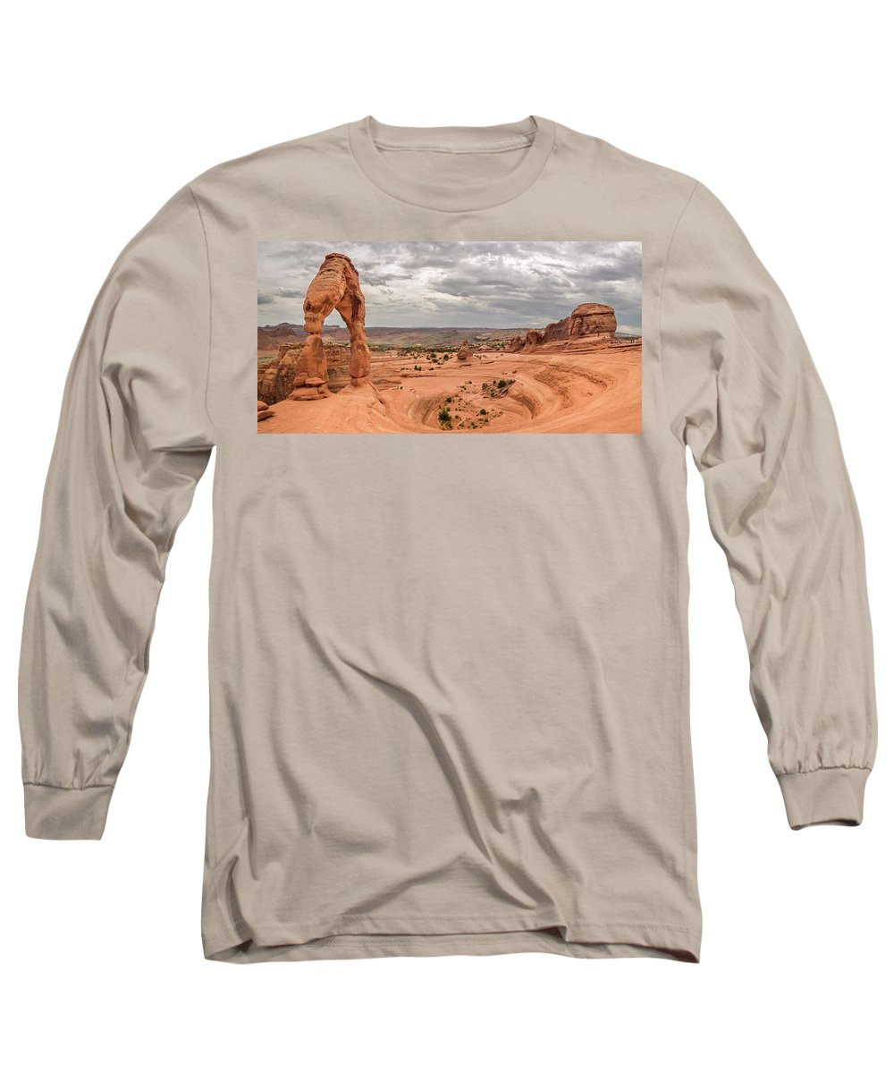 3scape Photos Long Sleeve T-Shirt featuring the photograph Delicate Arch Panoramic by Adam Romanowicz