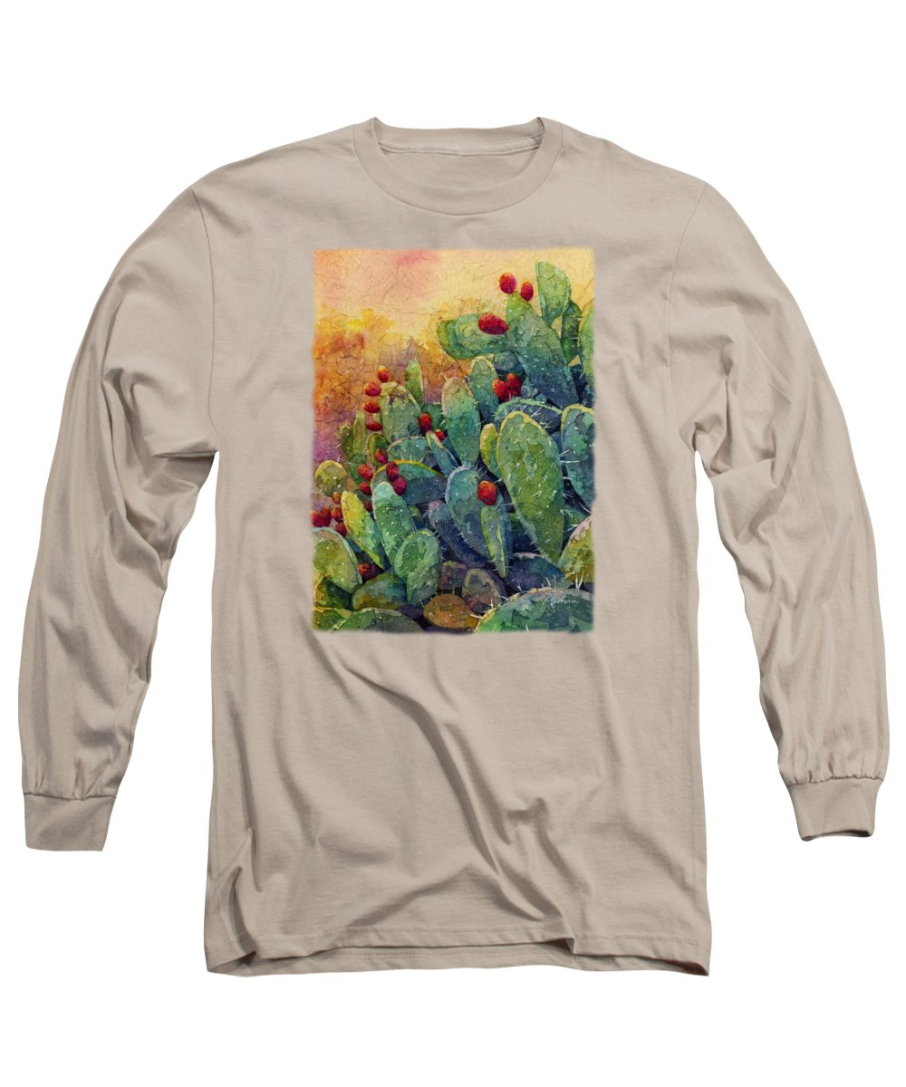 Cactus Long Sleeve T-Shirt featuring the painting Desert Gems 2 by Hailey E Herrera