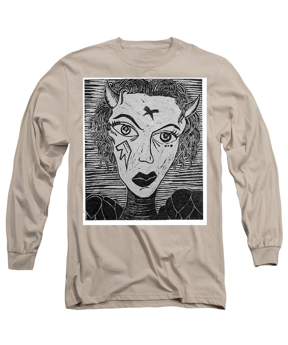 Prints Long Sleeve T-Shirt featuring the print Devil Print Two Out Of Five by Thomas Valentine