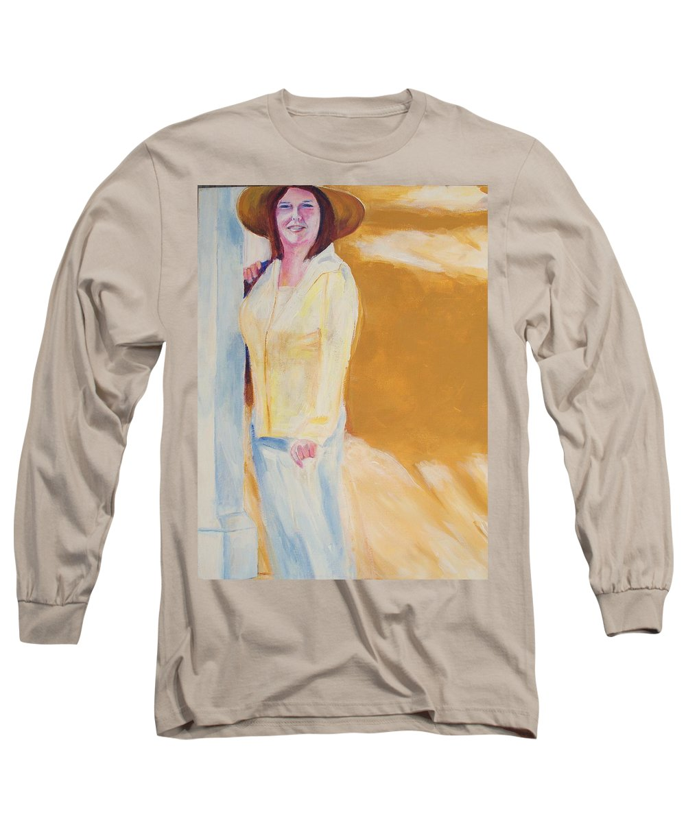 Portraits Long Sleeve T-Shirt featuring the painting Diane by Eric Schiabor