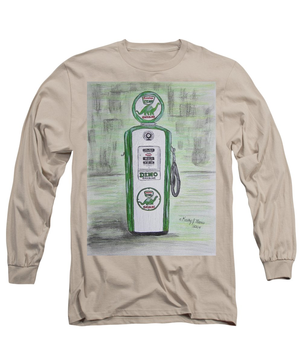Dino Long Sleeve T-Shirt featuring the painting Dino Sinclair Gas Pump by Kathy Marrs Chandler