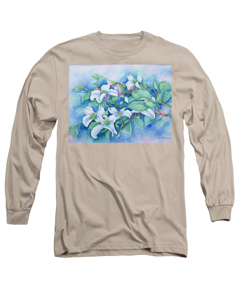 Floral Long Sleeve T-Shirt featuring the painting Dogwood by Conni Reinecke