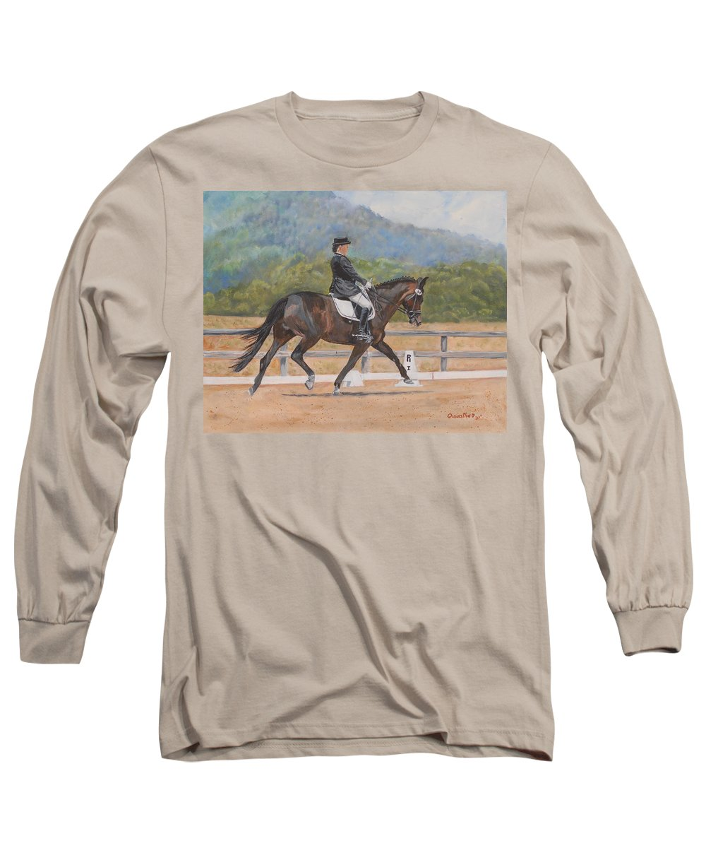 Horse Long Sleeve T-Shirt featuring the painting Donnerlittchen by Quwatha Valentine