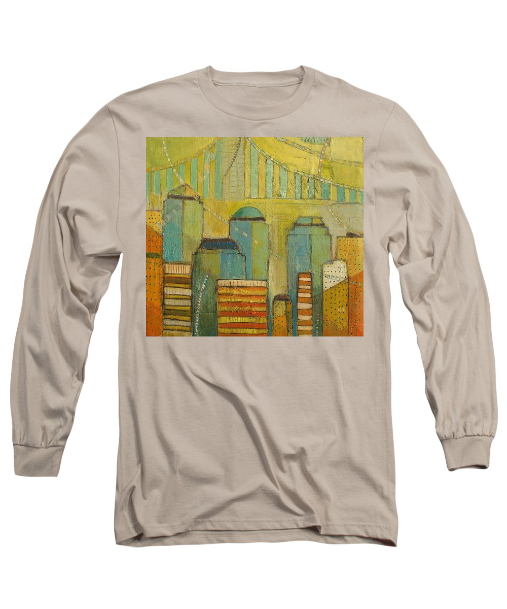 Long Sleeve T-Shirt featuring the painting Downtown Manhattan by Habib Ayat