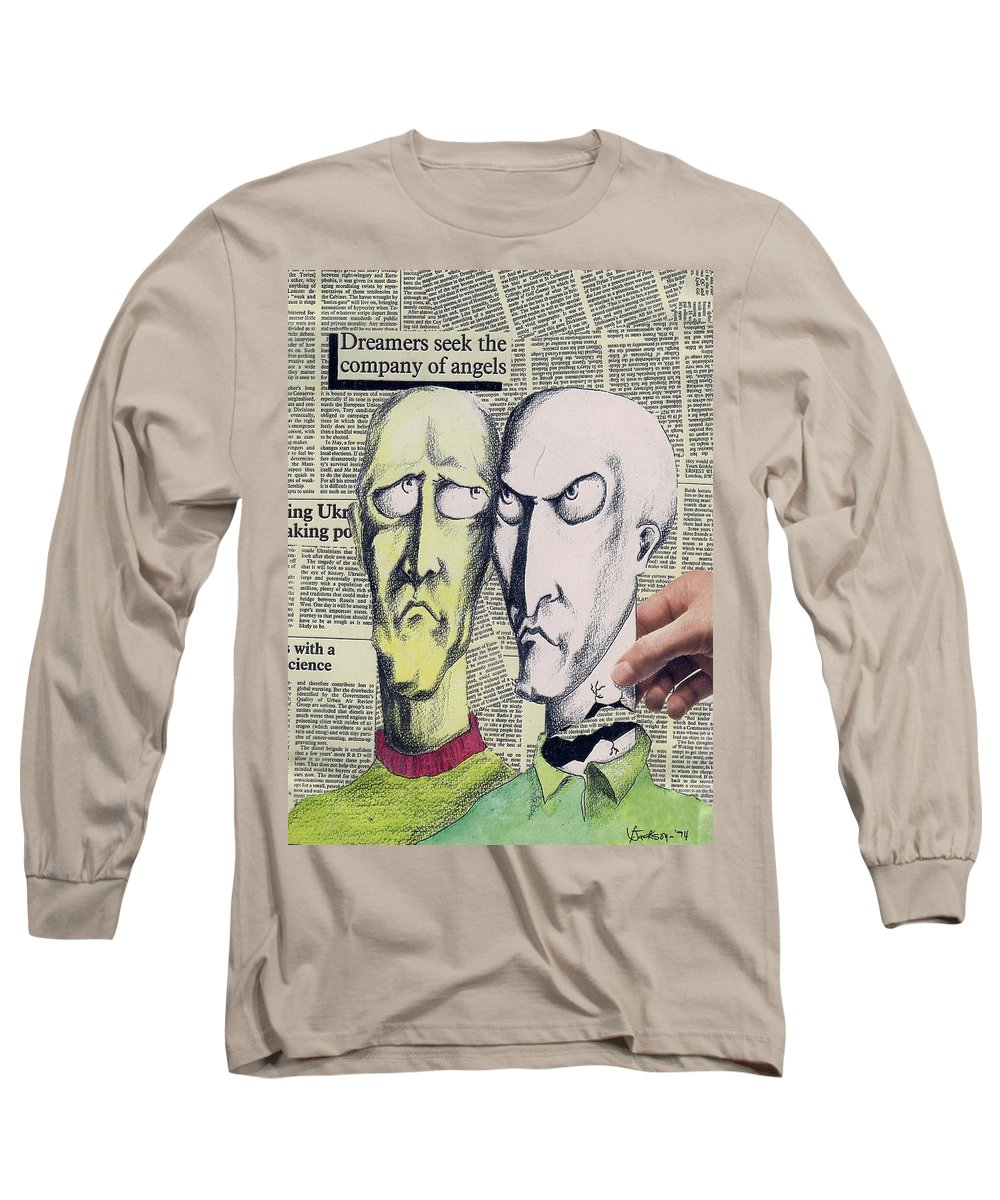 Dreamers Angels Faces Long Sleeve T-Shirt featuring the mixed media Dreamers by Veronica Jackson