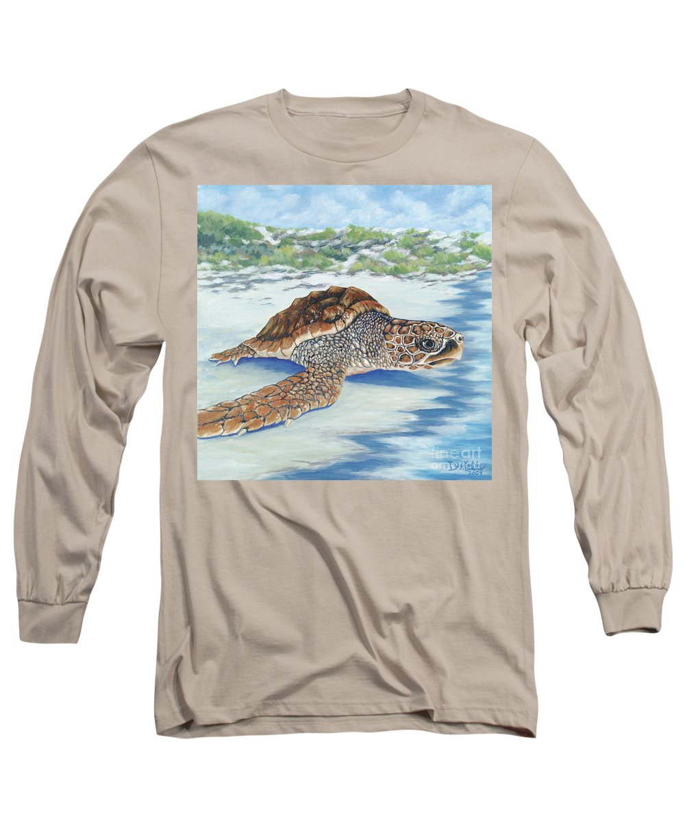 Sea Turtle Long Sleeve T-Shirt featuring the painting Dreaming Of Islands by Danielle Perry