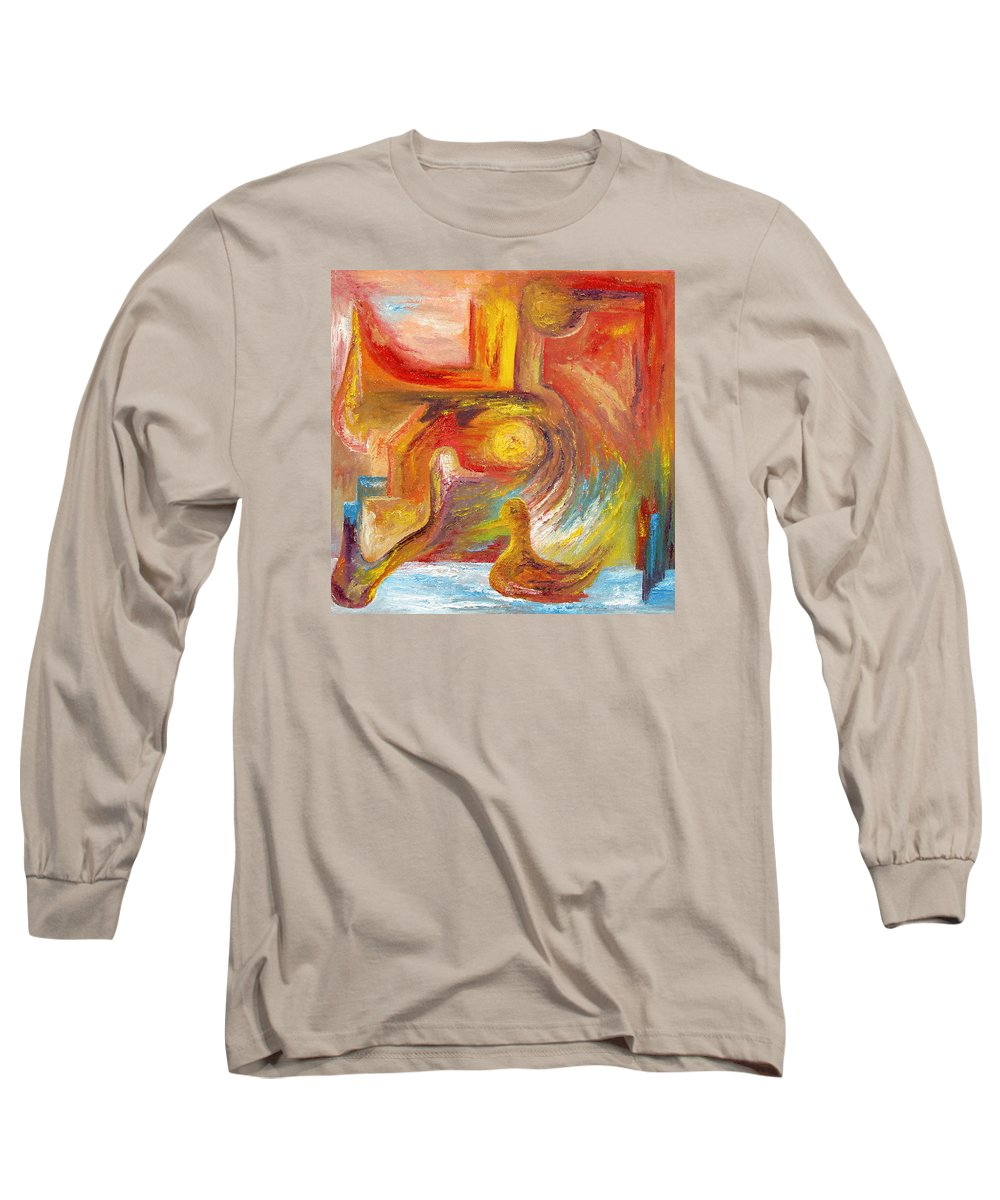 Duck Long Sleeve T-Shirt featuring the painting Duck The Alchemist by Karina Ishkhanova