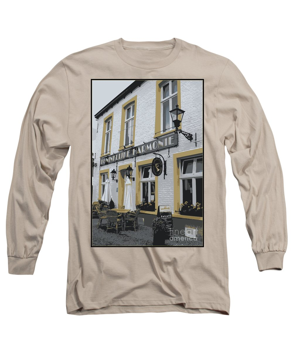 Gray And Yellow Long Sleeve T-Shirt featuring the photograph Dutch Cafe - Digital by Carol Groenen