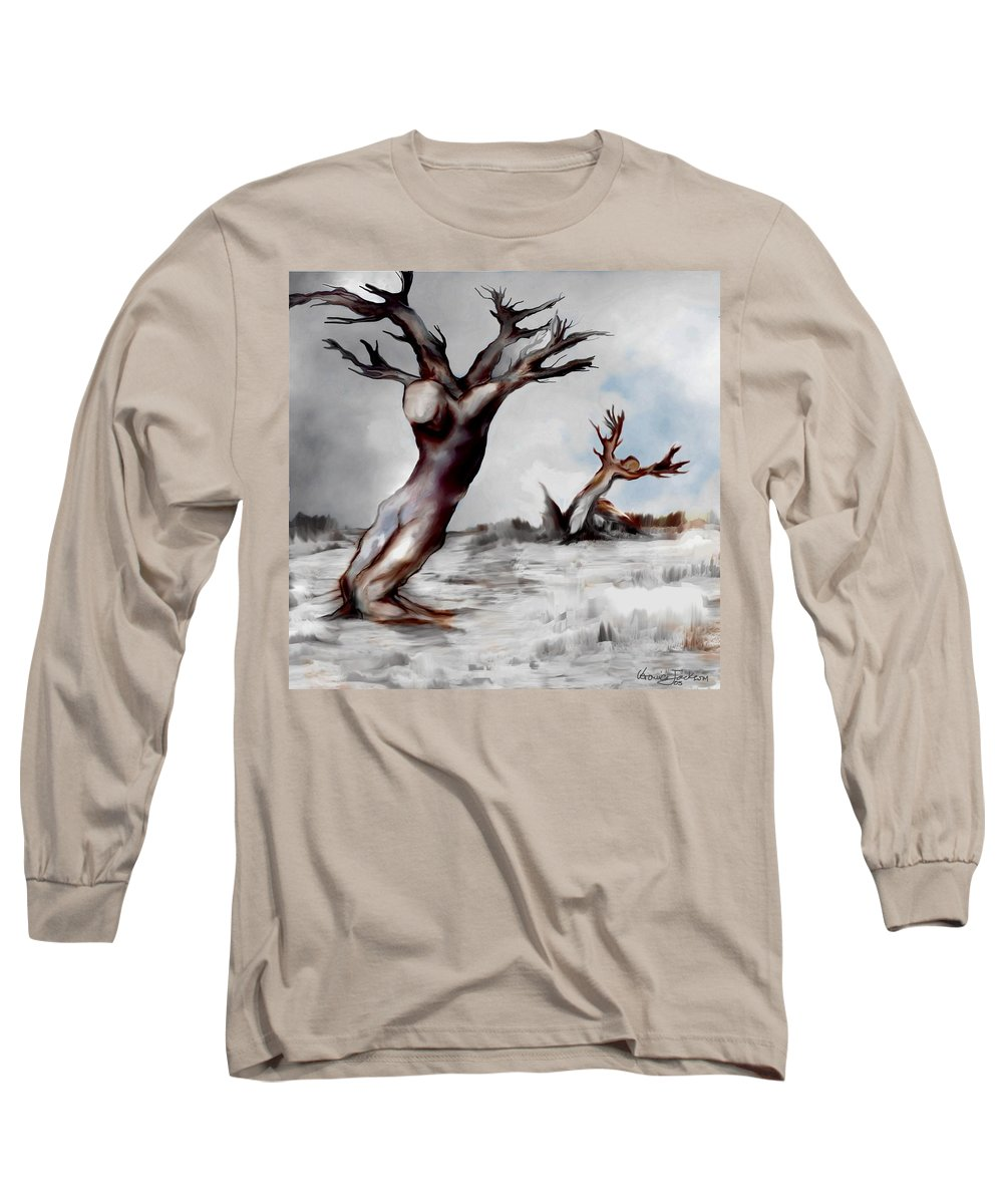 Trees Soul Nature Sky Storm Freedom Long Sleeve T-Shirt featuring the mixed media Earthbound by Veronica Jackson