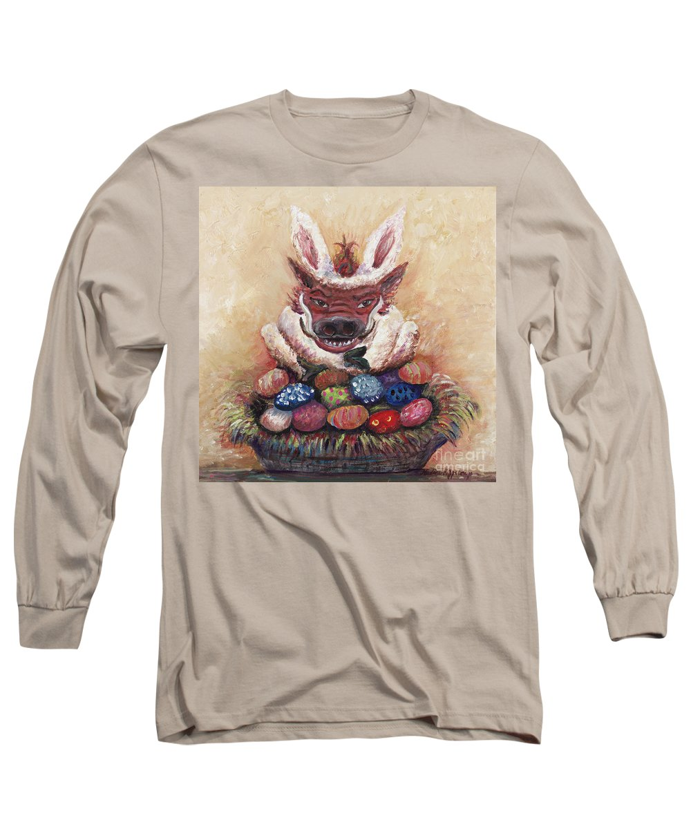 Easter Long Sleeve T-Shirt featuring the painting Easter Hog by Nadine Rippelmeyer