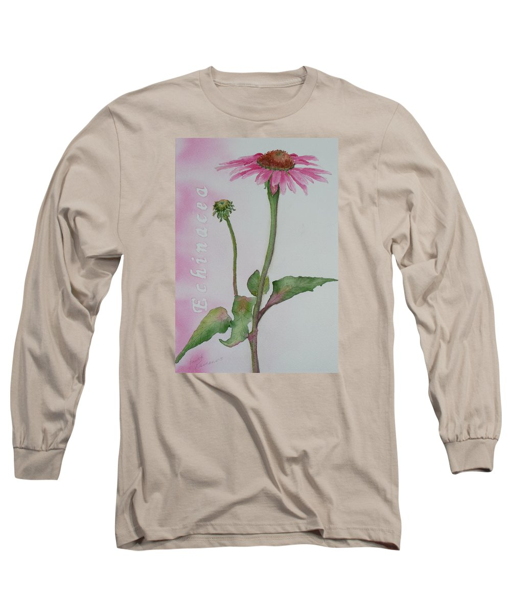 Flower Long Sleeve T-Shirt featuring the painting Echinacea by Ruth Kamenev