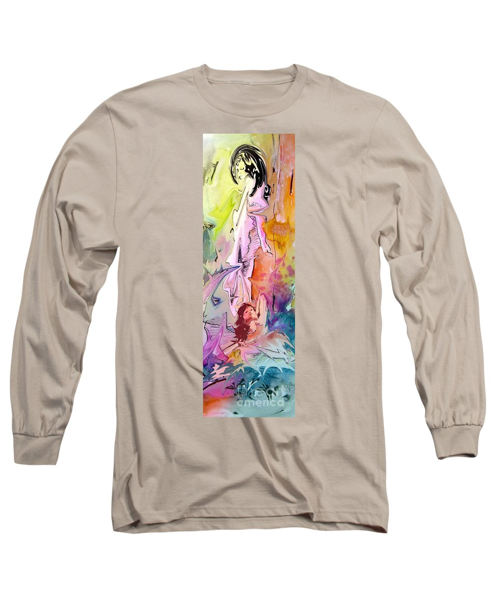 Miki Long Sleeve T-Shirt featuring the painting Eroscape 09 1 by Miki De Goodaboom