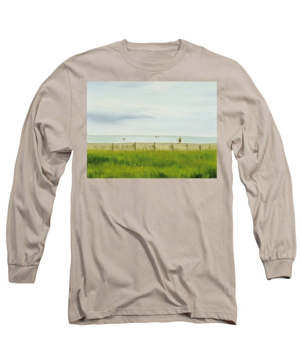 Seascape Long Sleeve T-Shirt featuring the painting Evening At Cape May by Lea Novak