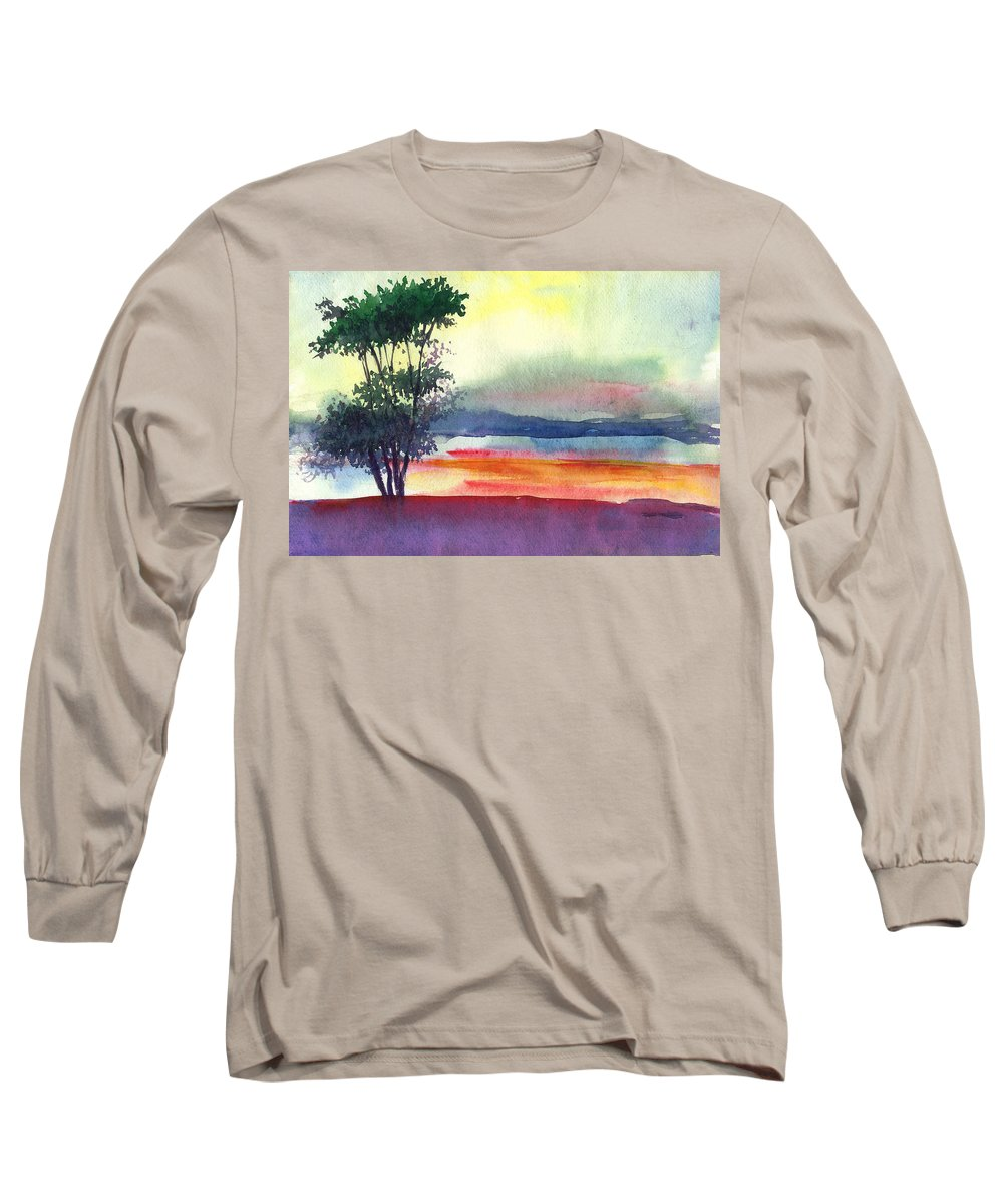 Water Color Long Sleeve T-Shirt featuring the painting Evening Lights by Anil Nene
