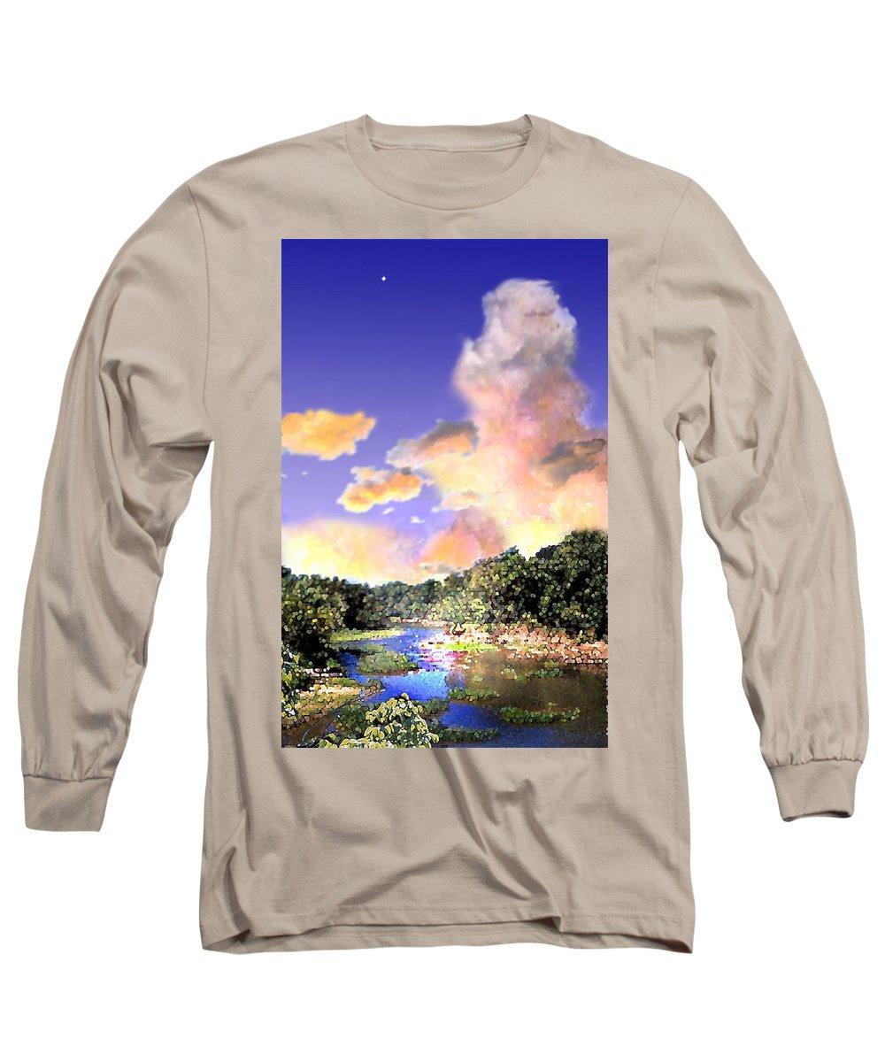 Landscape Long Sleeve T-Shirt featuring the digital art Evening Star by Steve Karol