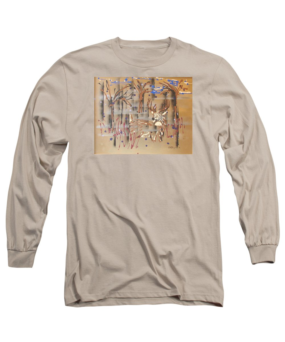 Buck In Tree Line Long Sleeve T-Shirt featuring the painting Everwatchful by J R Seymour
