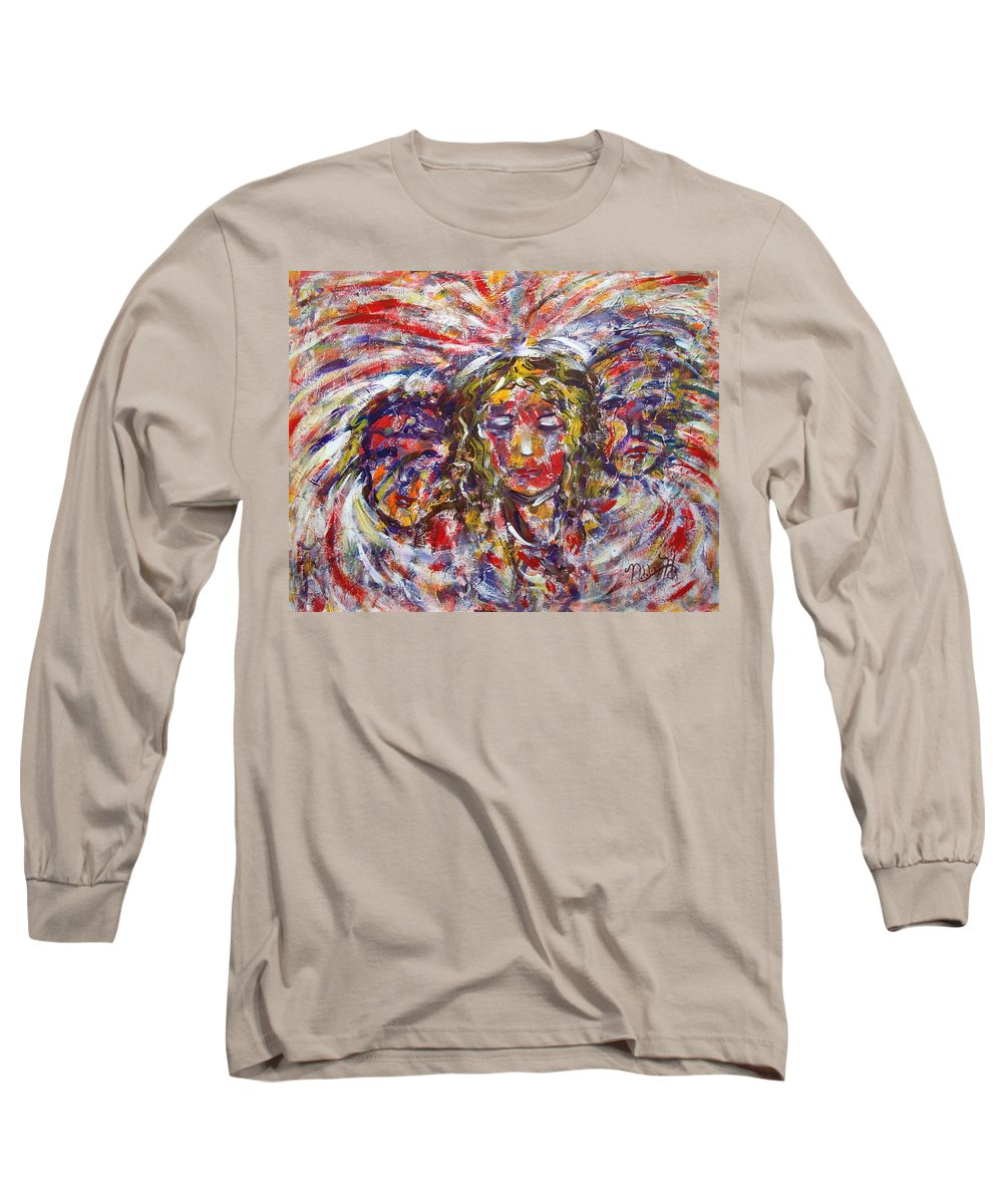 Woman Long Sleeve T-Shirt featuring the painting Faith Hope And Love by Natalie Holland