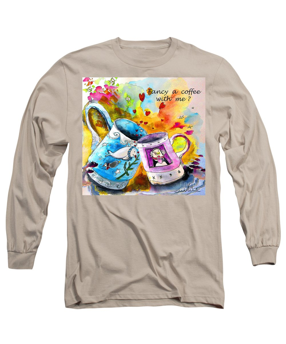 Cafe Crem Long Sleeve T-Shirt featuring the painting Fancy A Coffee by Miki De Goodaboom