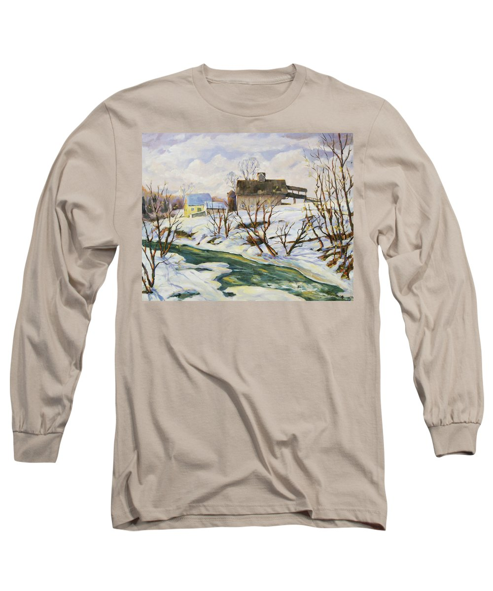 Farm Long Sleeve T-Shirt featuring the painting Farm In Winter by Richard T Pranke
