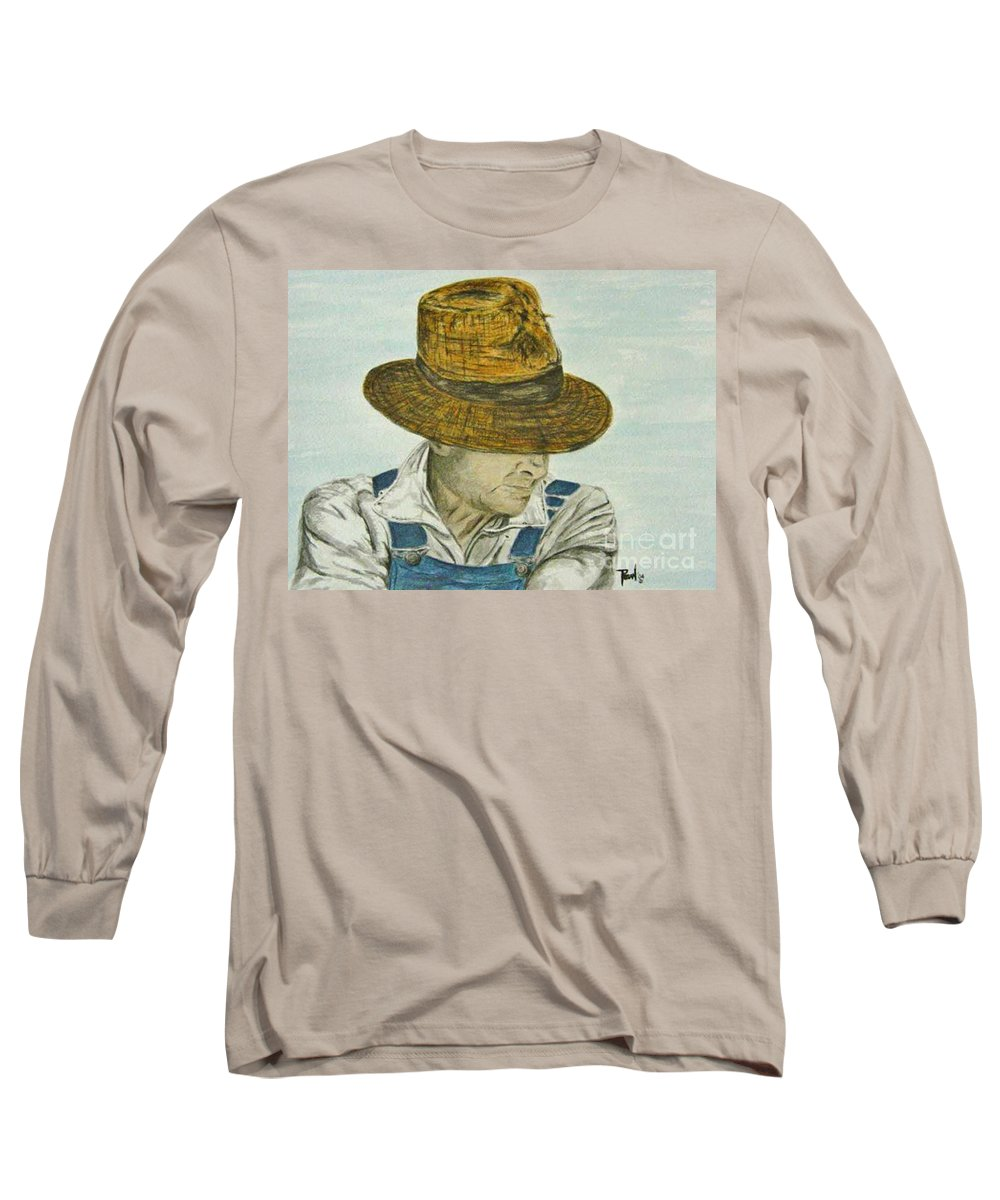 Portrait Long Sleeve T-Shirt featuring the painting Farmer Ted by Regan J Smith