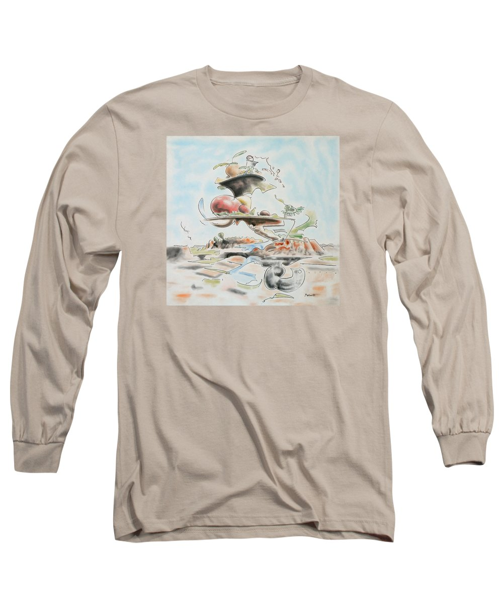 Abstract Long Sleeve T-Shirt featuring the painting Fast Food by Dave Martsolf