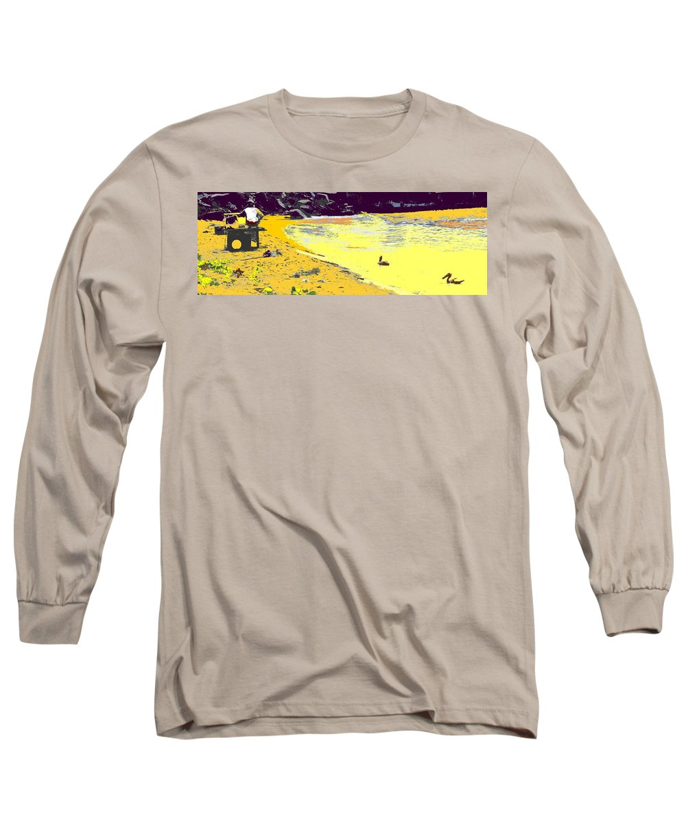 St Kitts Long Sleeve T-Shirt featuring the photograph Feeding The Pelicans by Ian MacDonald