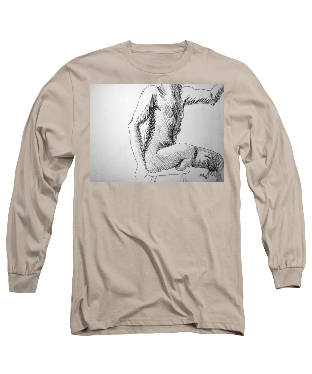 Figure Long Sleeve T-Shirt featuring the drawing Figure Drawing 3 by Nancy Mueller