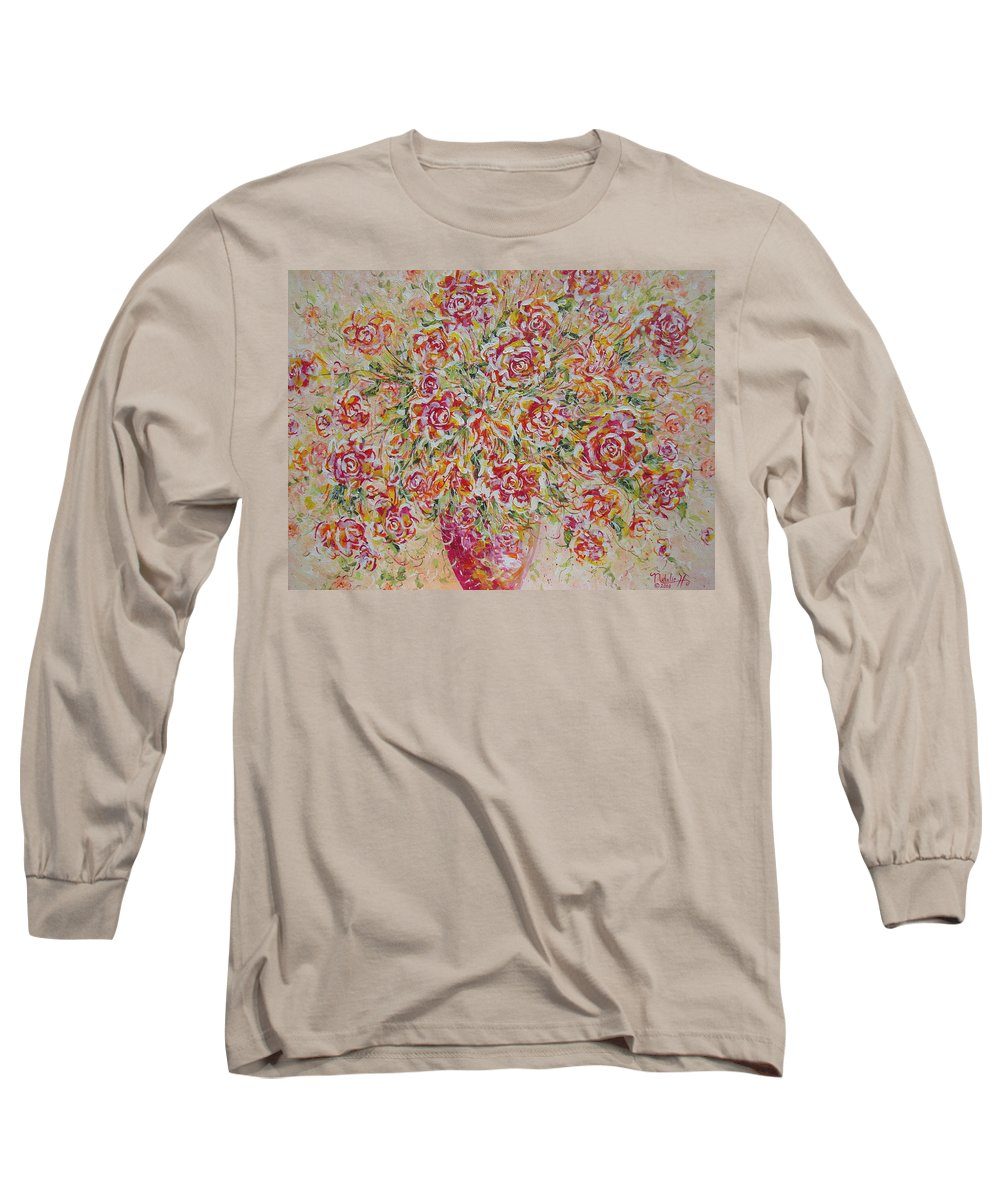 Flowers. Floral Long Sleeve T-Shirt featuring the painting First Love Flowers by Natalie Holland