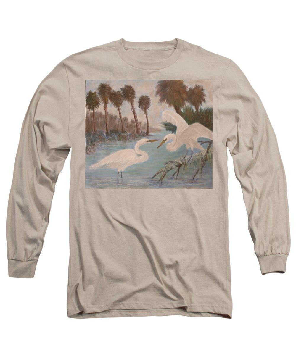 Egret Long Sleeve T-Shirt featuring the painting First Meeting by Ben Kiger