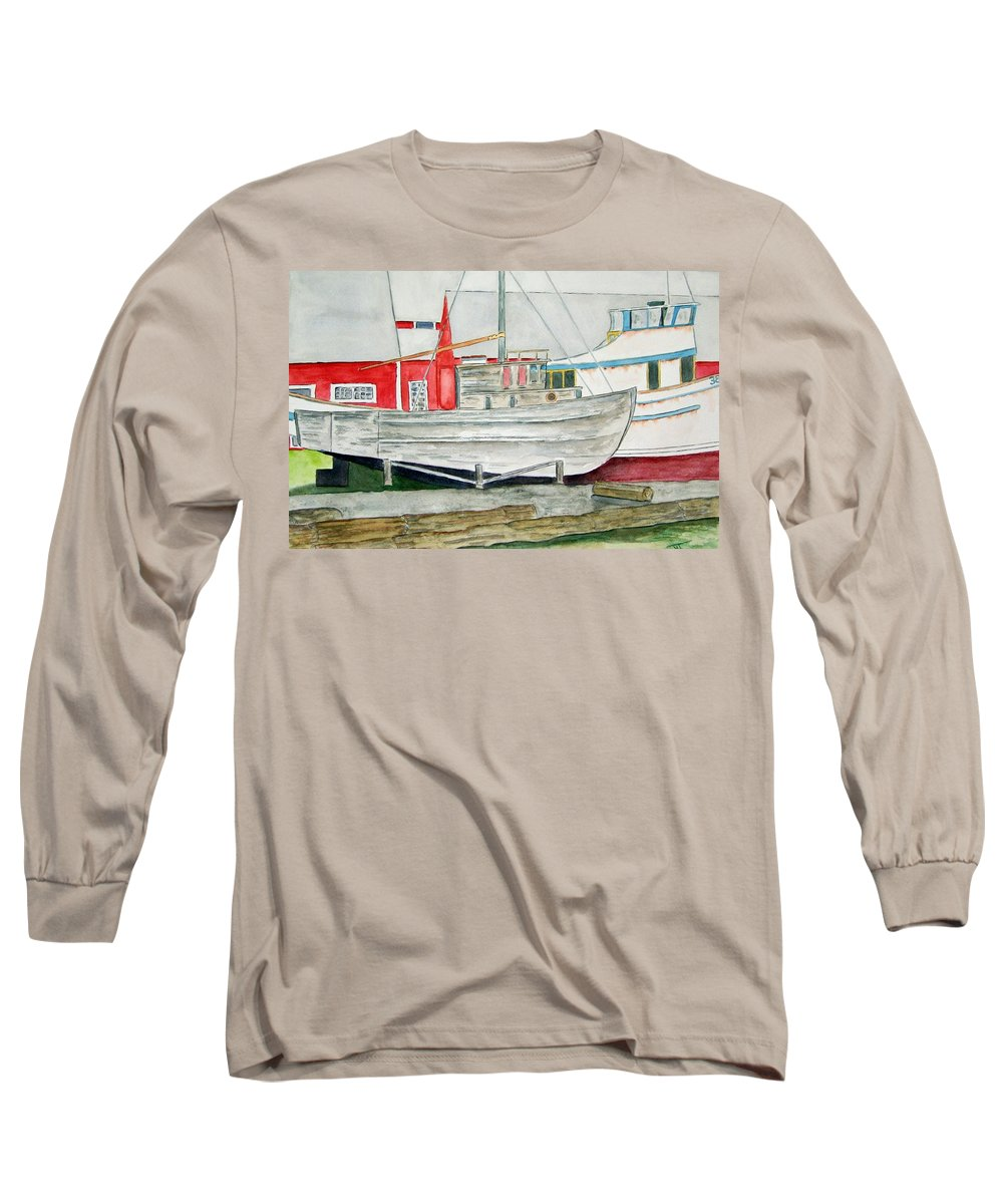 Alaska Art Long Sleeve T-Shirt featuring the painting Fish Out Of Water by Larry Wright