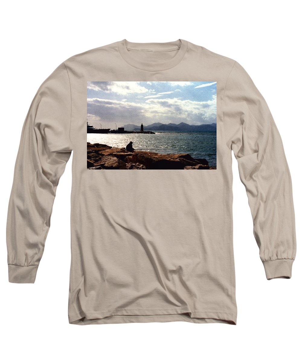 Fisherman Long Sleeve T-Shirt featuring the photograph Fisherman In Nice France by Nancy Mueller