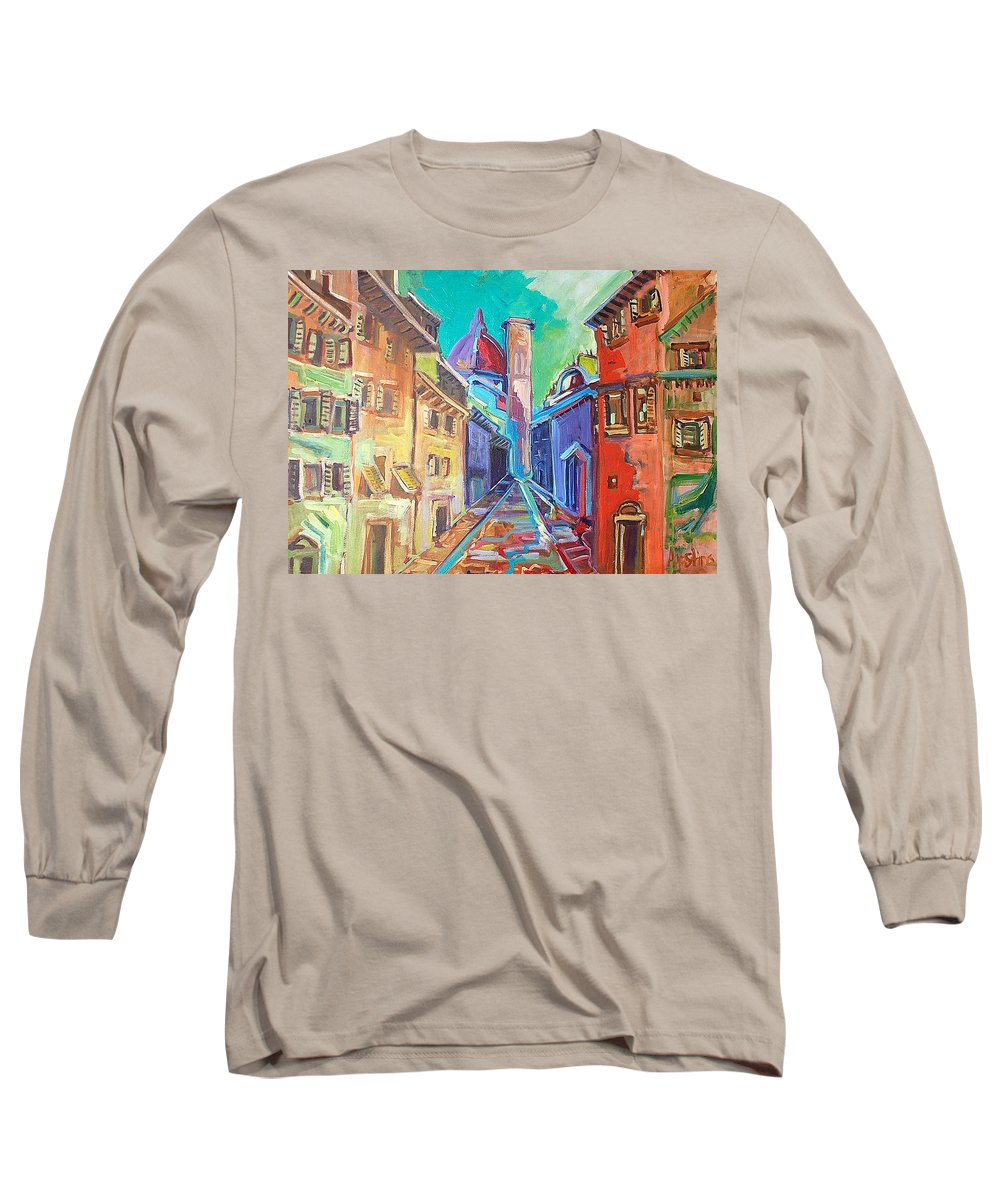 City Long Sleeve T-Shirt featuring the painting Florence by Kurt Hausmann