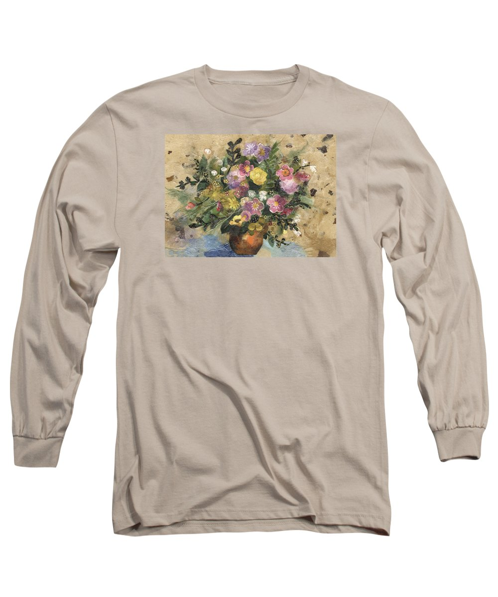 Limited Edition Prints Long Sleeve T-Shirt featuring the painting Flowers In A Clay Vase by Nira Schwartz