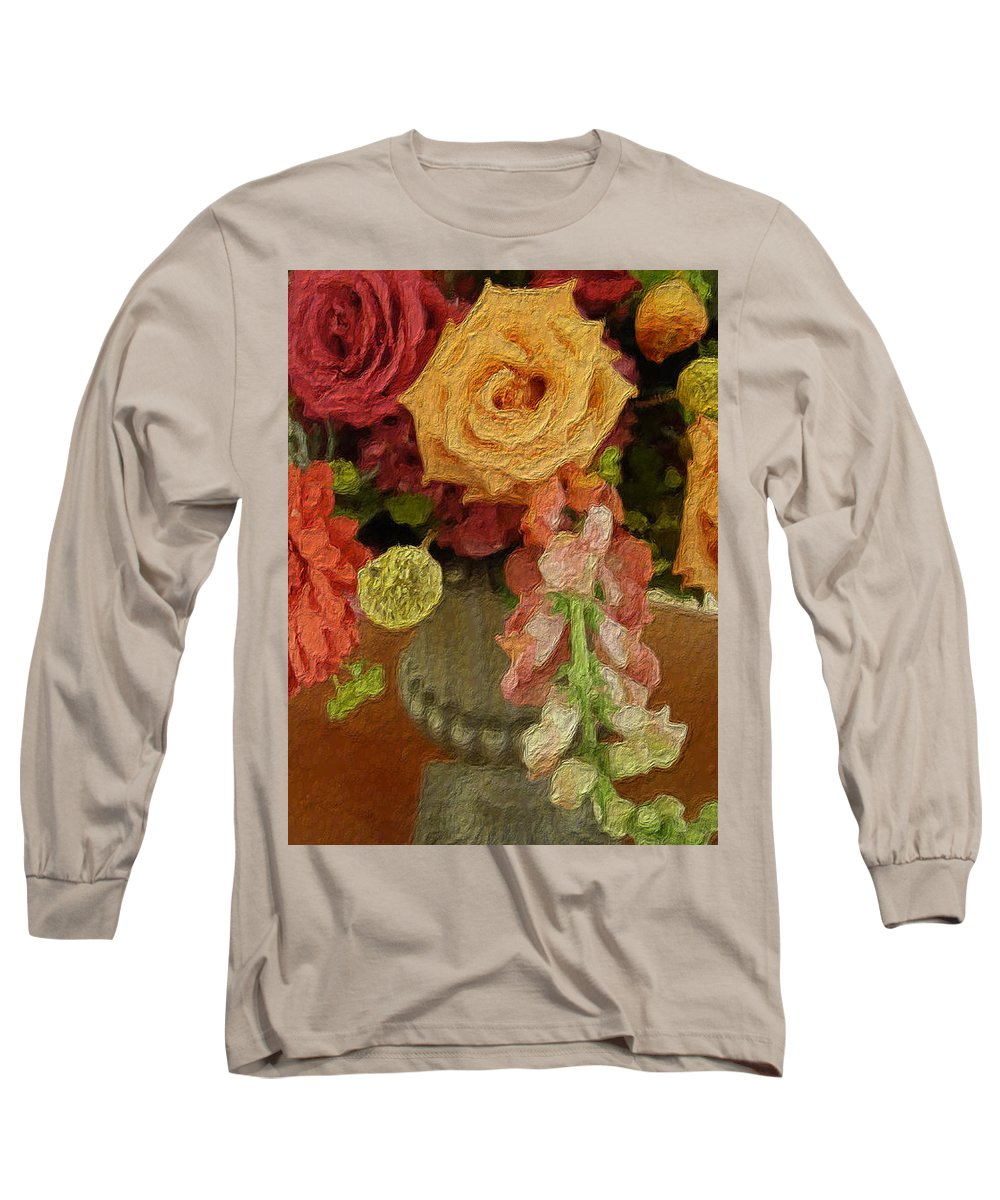 Flowers Long Sleeve T-Shirt featuring the painting Flowers In Vase by Joan Reese