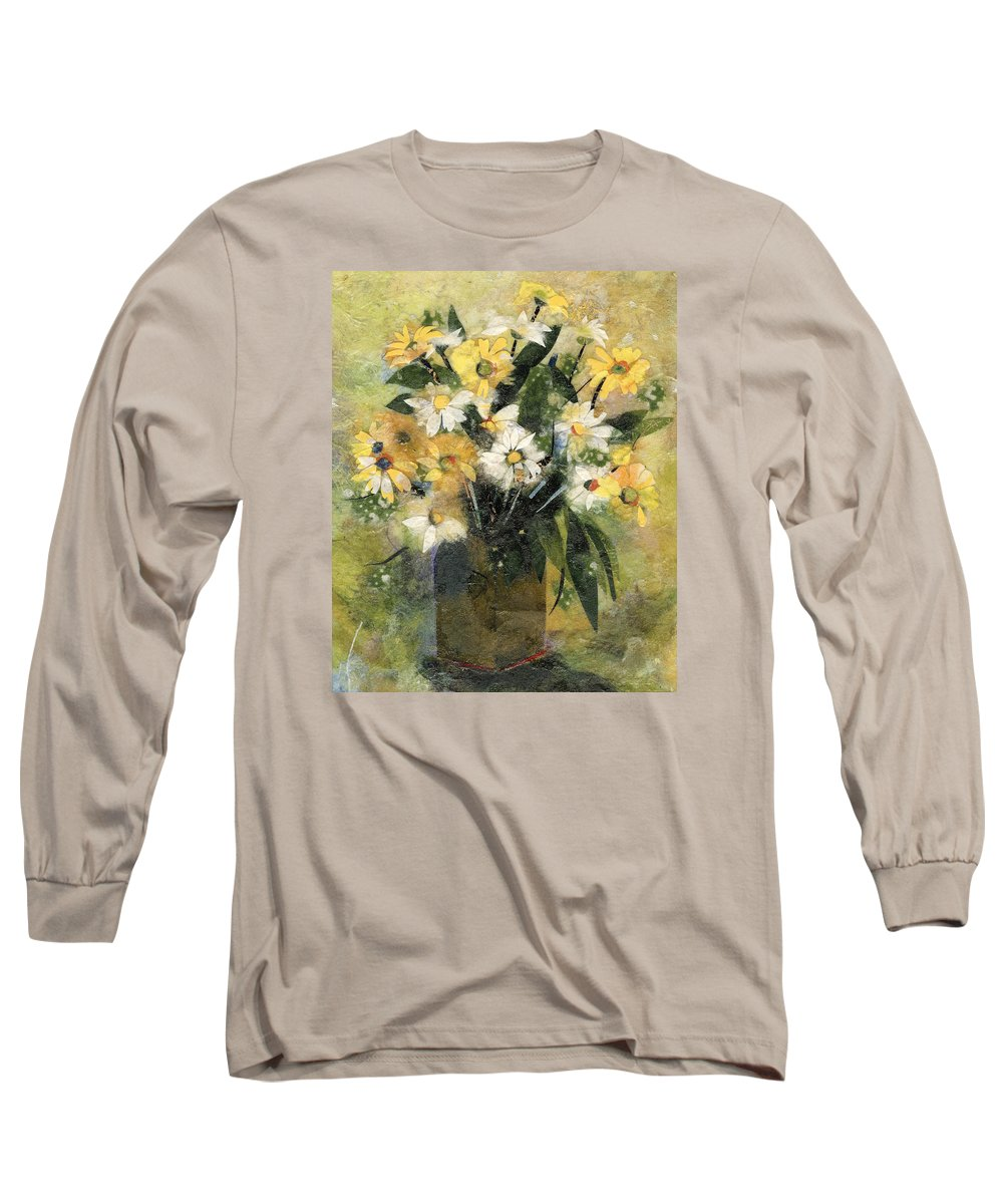 Limited Edition Prints Long Sleeve T-Shirt featuring the painting Flowers In White And Yellow by Nira Schwartz
