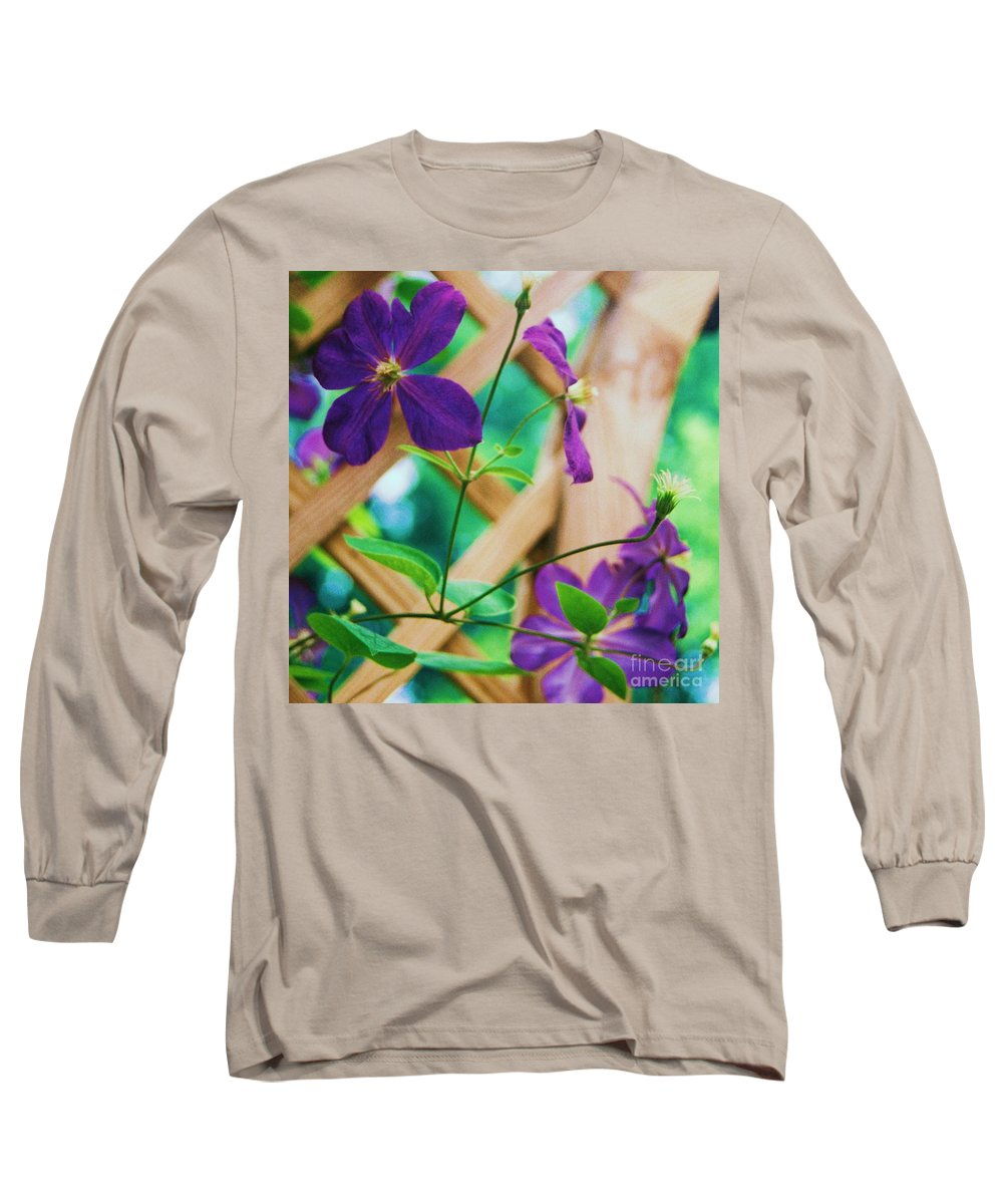 Floral Long Sleeve T-Shirt featuring the painting Flowers Purple by Eric Schiabor