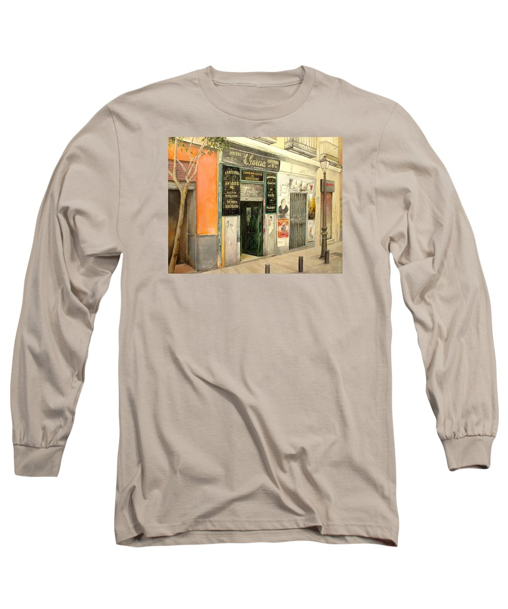 Streetscene Long Sleeve T-Shirt featuring the painting Fontaneria E.garcia by Tomas Castano