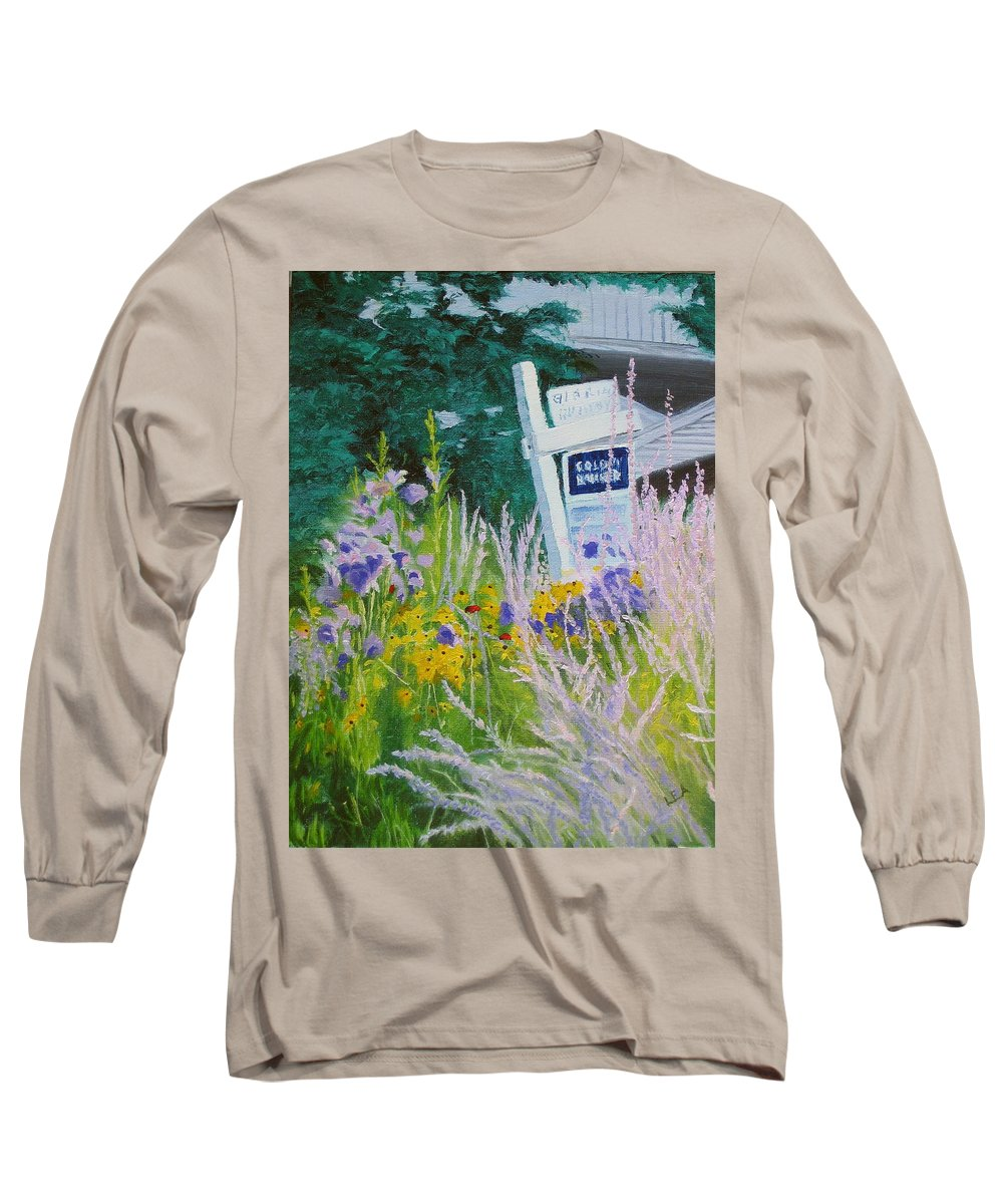 Landscape Long Sleeve T-Shirt featuring the painting For Sale - A Patch Of Paradise by Lea Novak