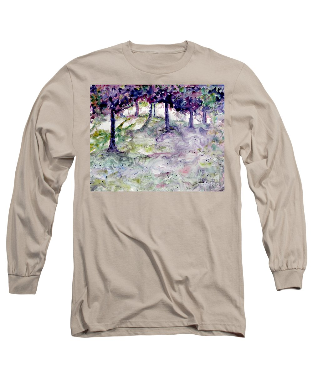 Fastasy Long Sleeve T-Shirt featuring the painting Forest Fantasy by Jan Bennicoff