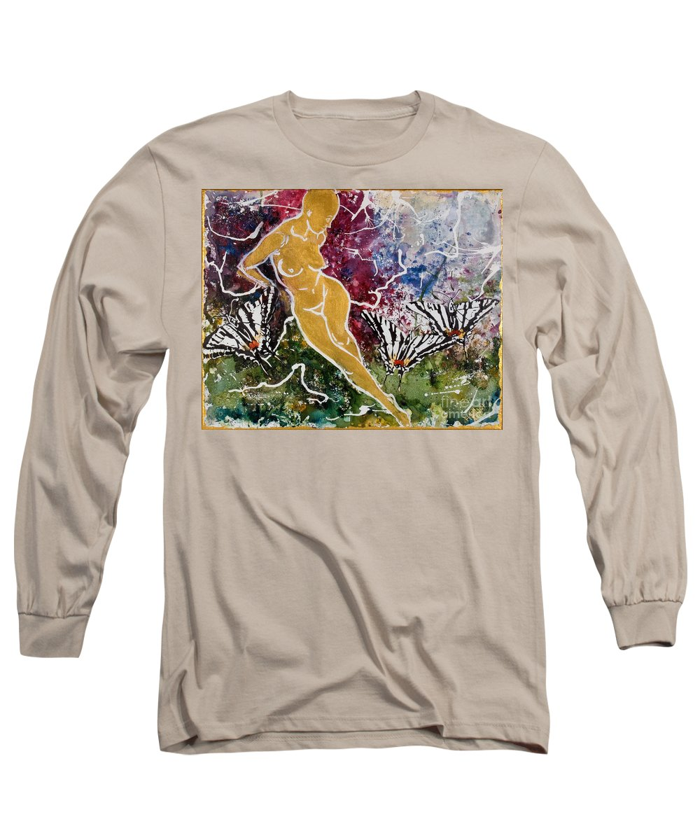 Nude Long Sleeve T-Shirt featuring the painting Freedom by Elisabeta Hermann