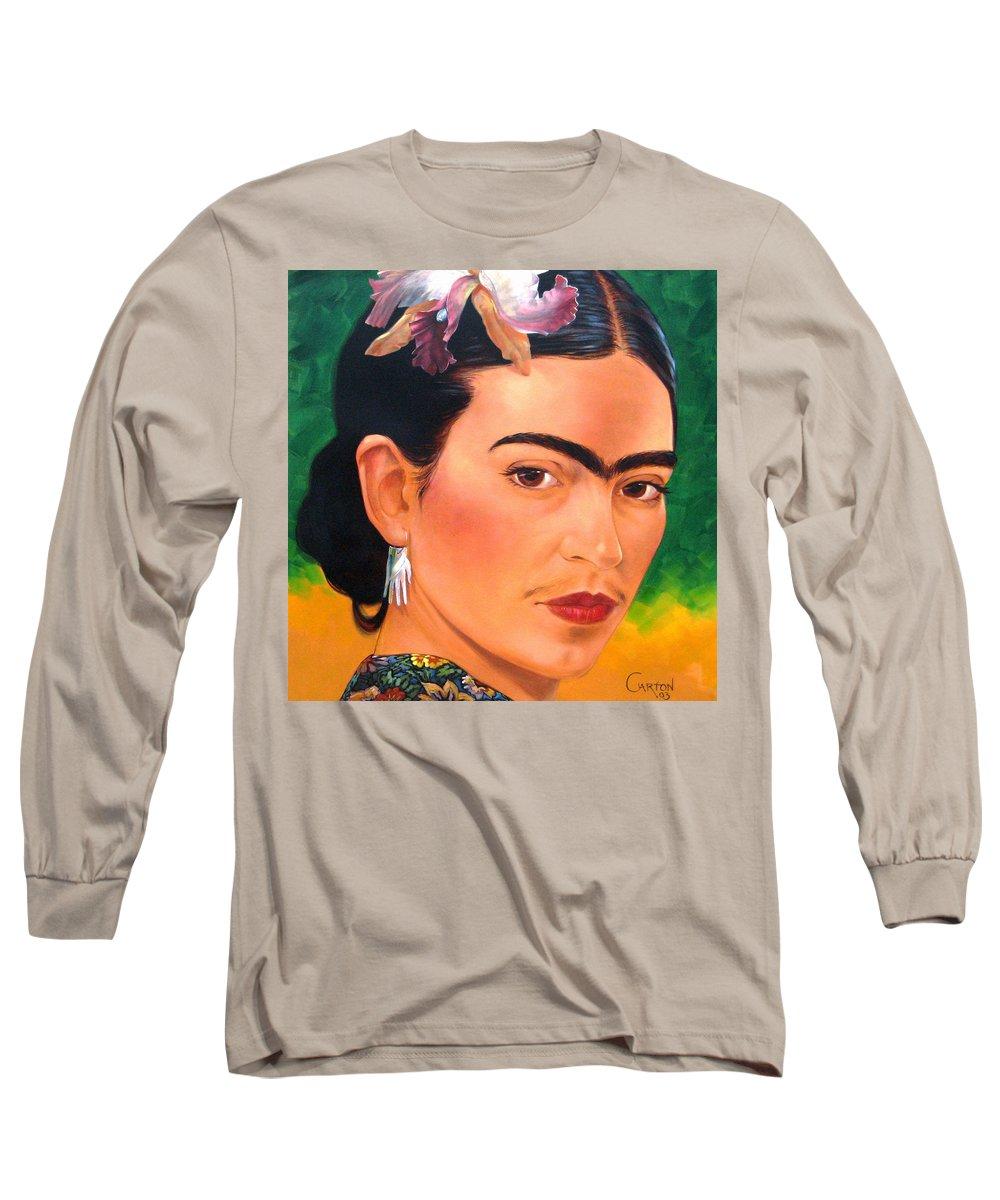 Frida Kahlo Long Sleeve T-Shirt featuring the painting Frida Kahlo 2003 by Jerrold Carton