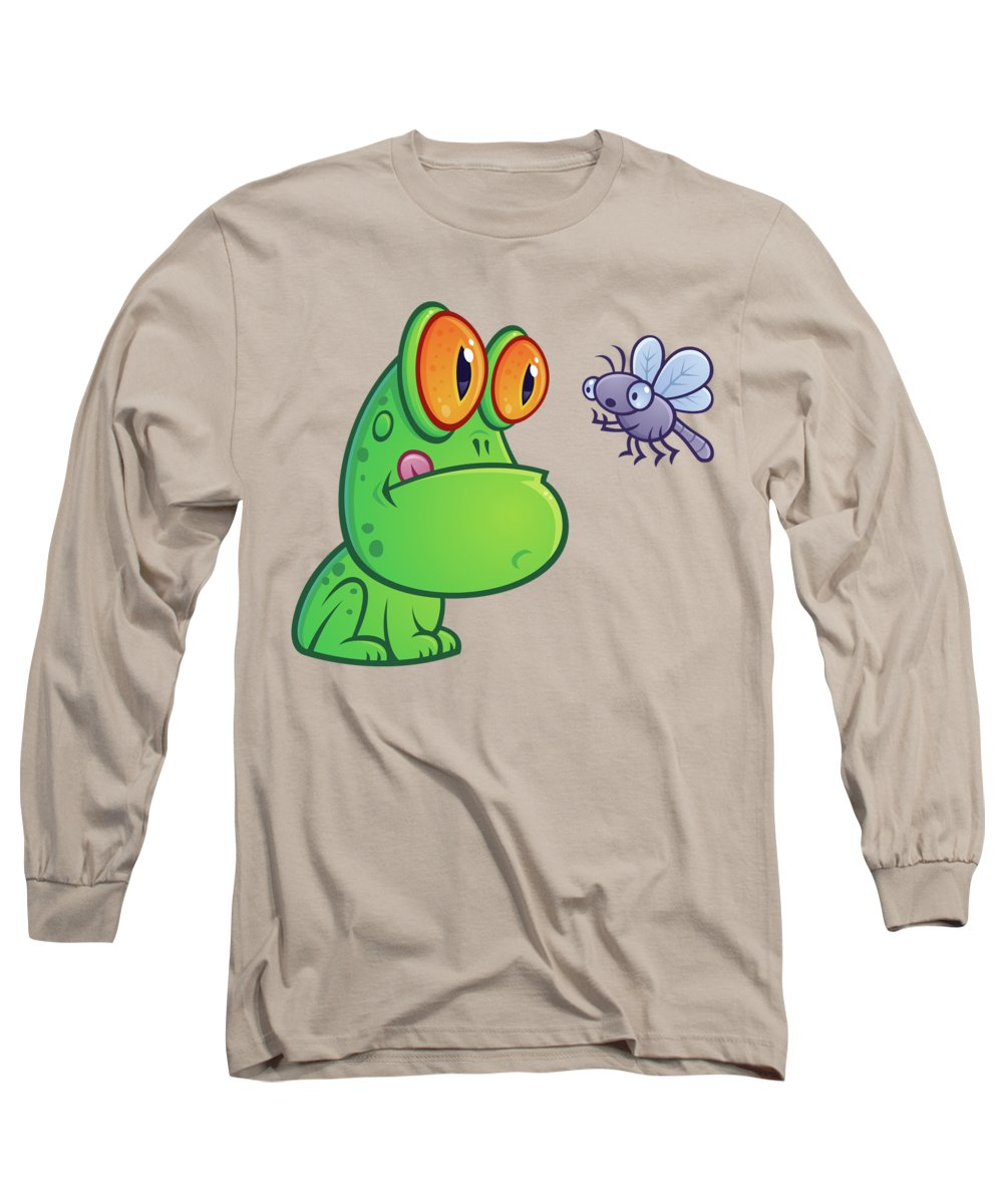 Frog Long Sleeve T-Shirt featuring the digital art Frog and Dragonfly by John Schwegel