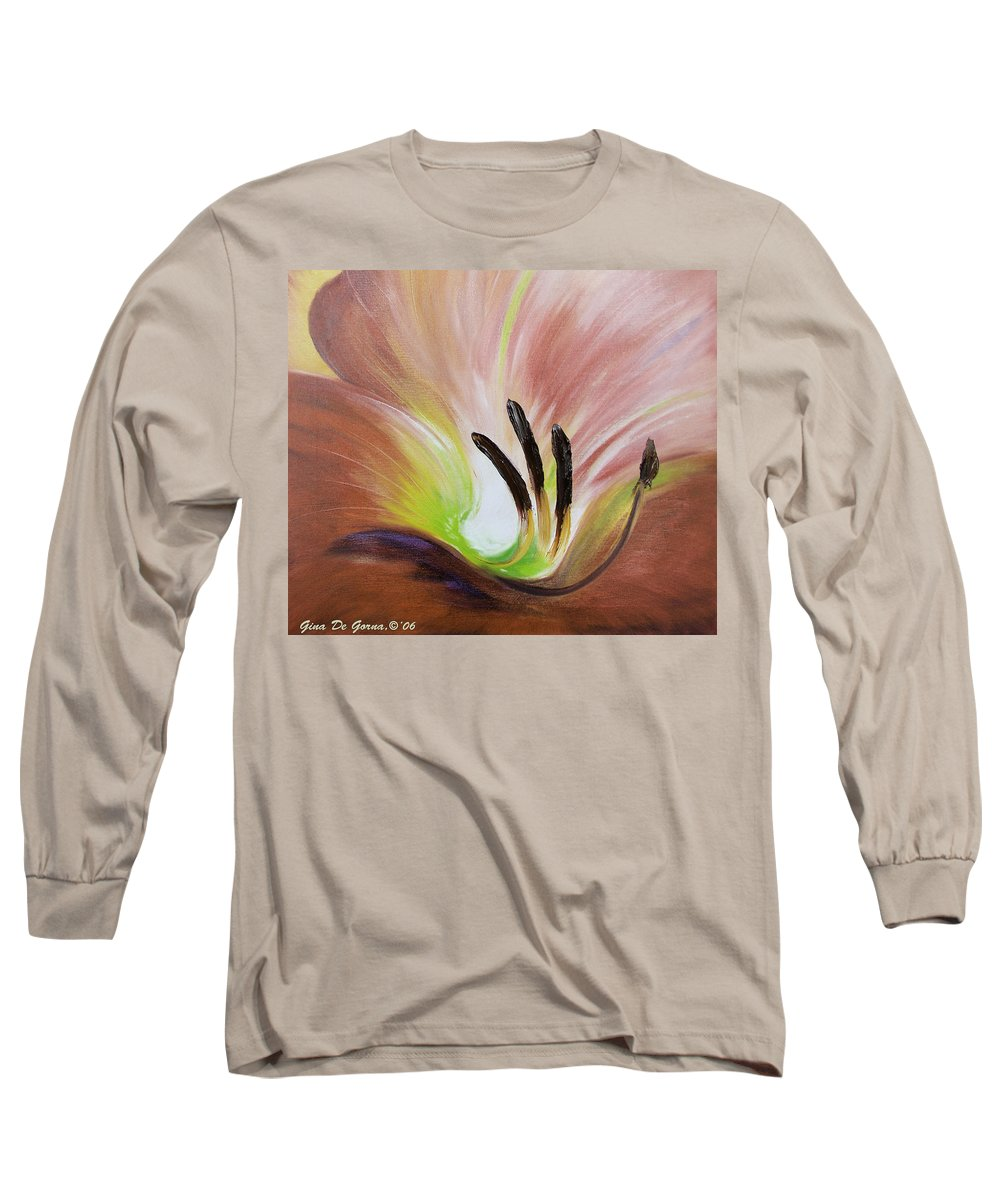 Brown Long Sleeve T-Shirt featuring the painting From The Heart Of A Flower Brown 3 by Gina De Gorna