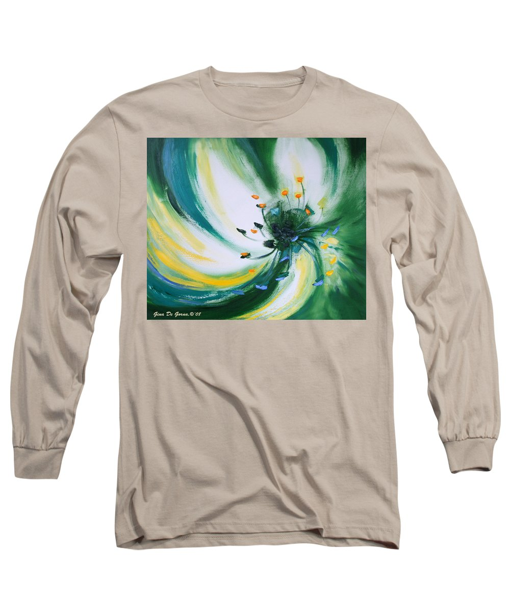 Green Long Sleeve T-Shirt featuring the painting From The Heart Of A Flower Green by Gina De Gorna