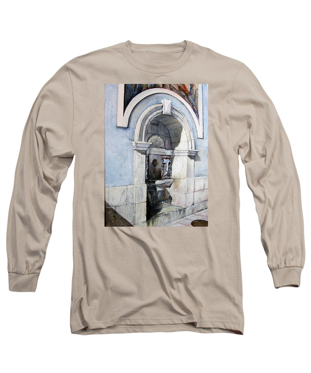Fuente Long Sleeve T-Shirt featuring the painting Fuente Castro Urdiales by Tomas Castano