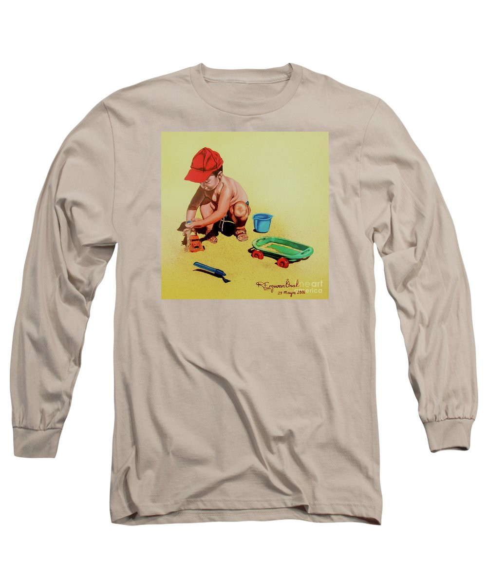 Beach Long Sleeve T-Shirt featuring the painting Game At The Beach - Juego En La Playa by Rezzan Erguvan-Onal