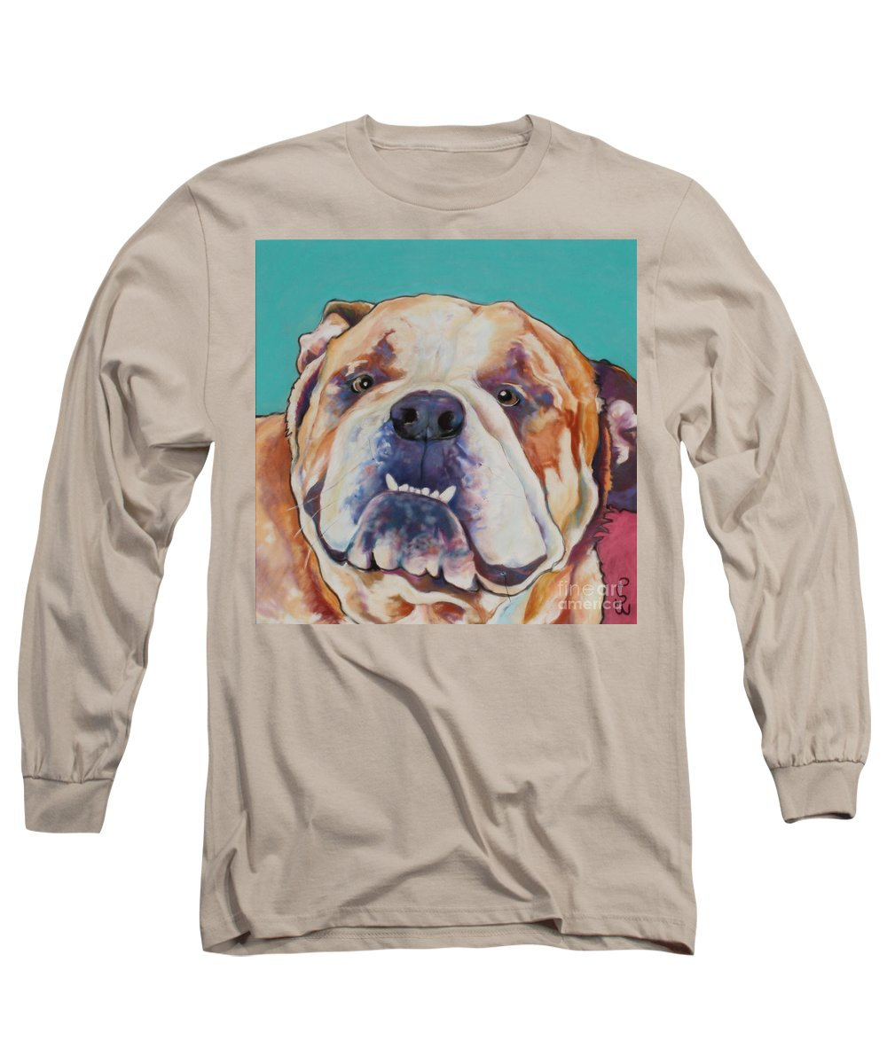 Pat Saunders-white Pet Portraits Long Sleeve T-Shirt featuring the painting Game Face  by Pat Saunders-White