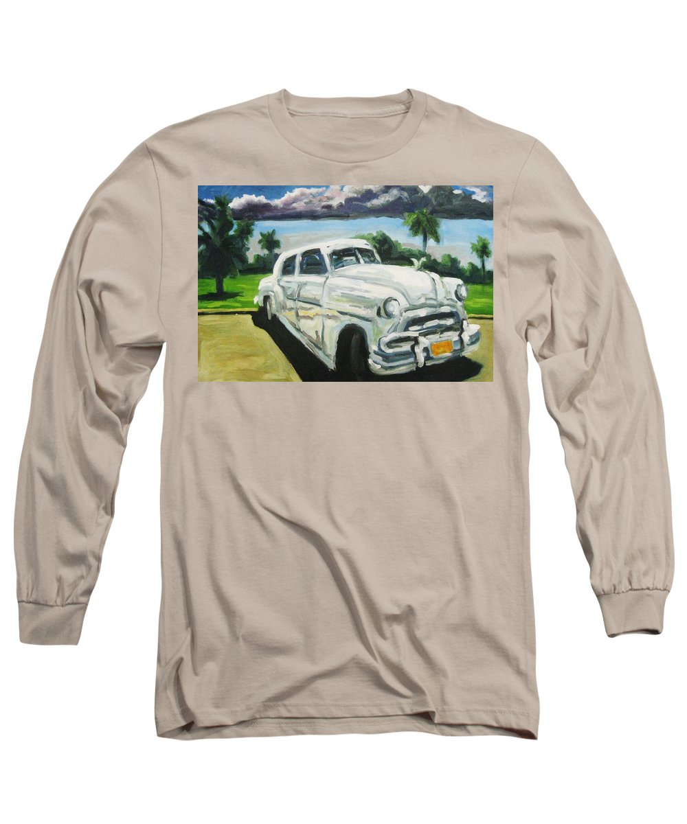 Old Cars Long Sleeve T-Shirt featuring the painting Gangsters On Vacation by John Malone
